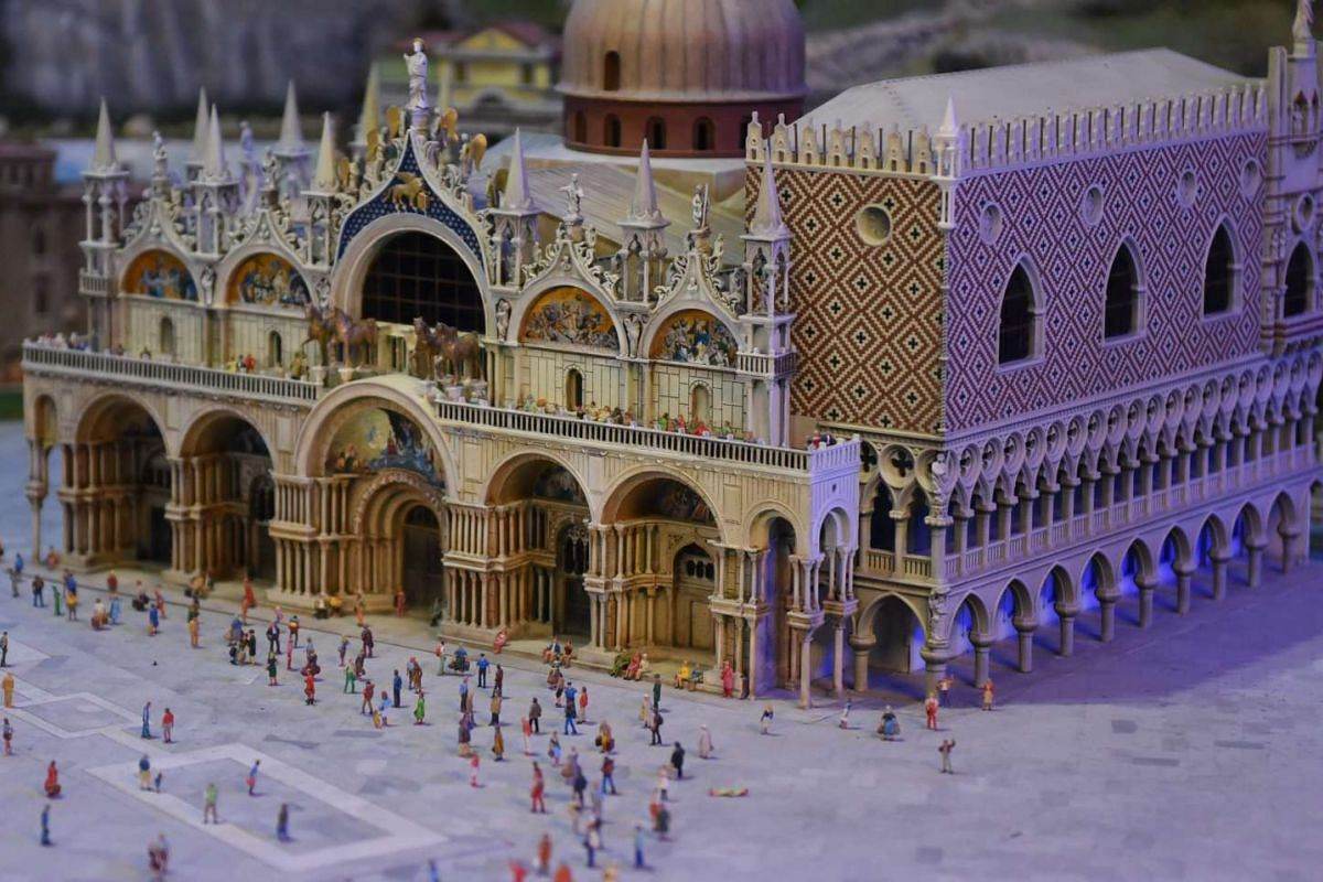 A miniature model of the Piazza San Marco in Venice, Italy.
