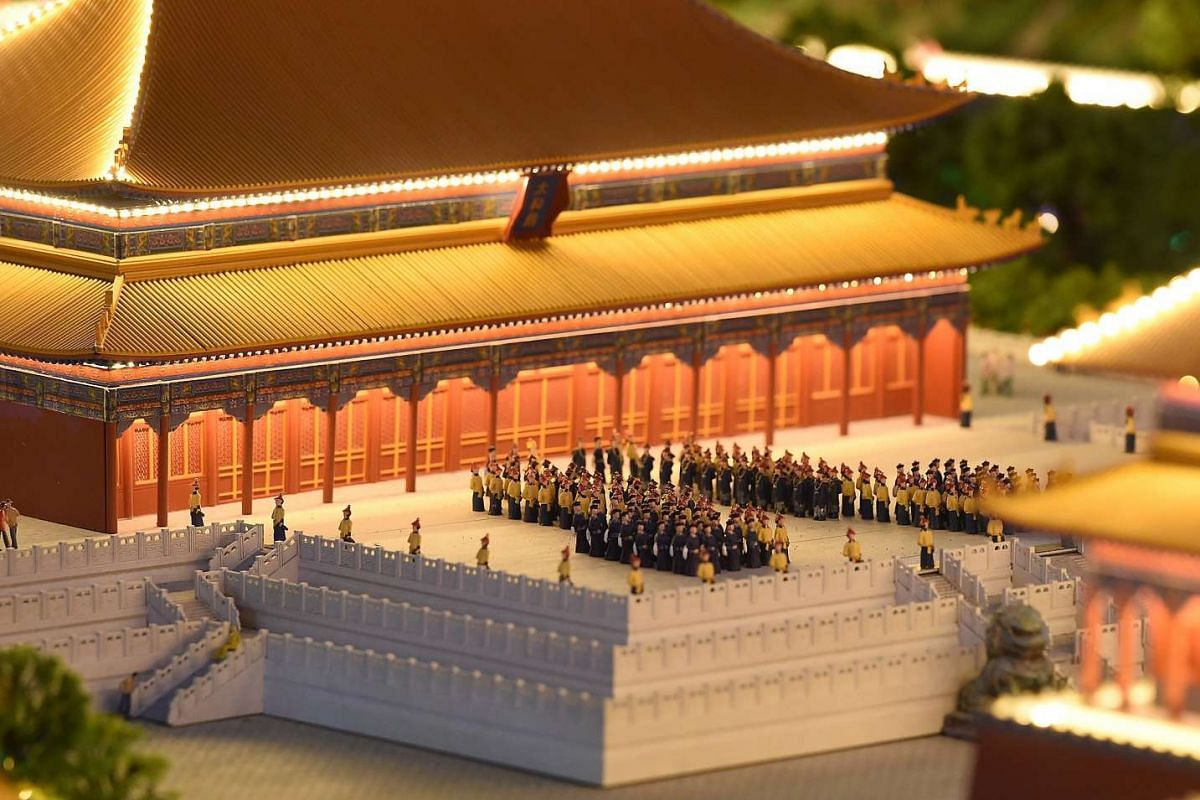 A miniature model of the Forbidden City in Beijing, China.
