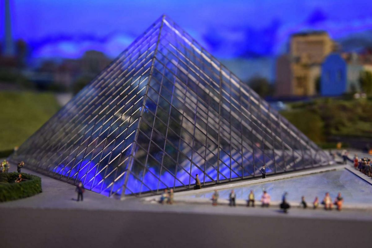 A miniature model of the Louvre in Paris, France.