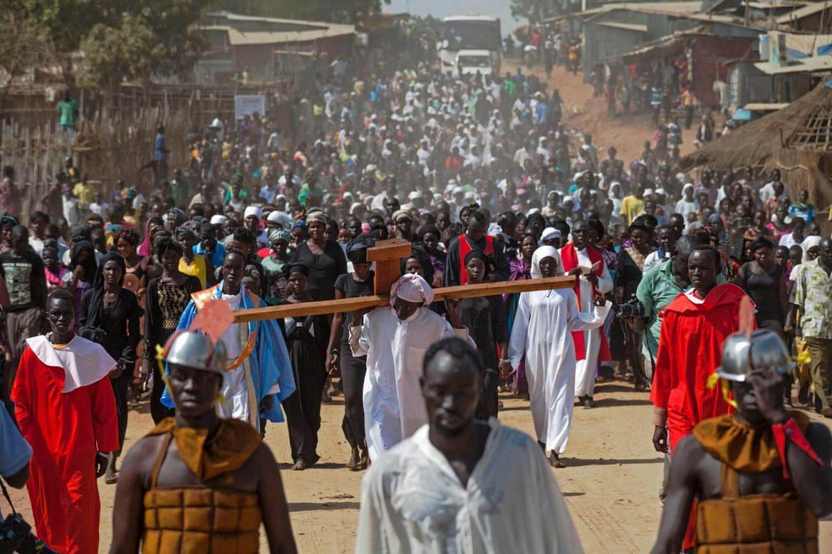 Actors perform the Passion of Jesus Christ in a procession in Juba, South Sudan.