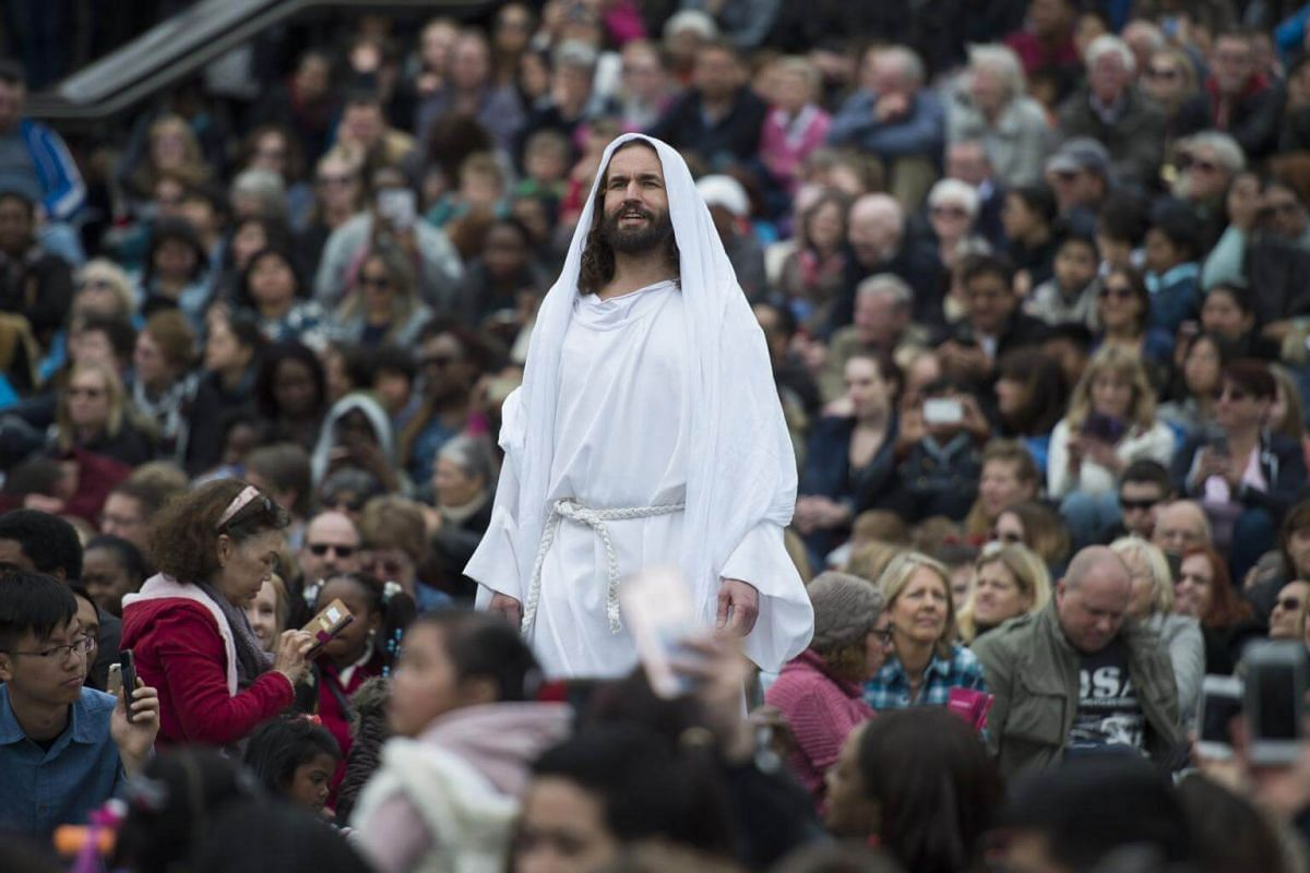 A re-enactment of the Passion of Jesus Christ at Trafalgar Square in Central London, Britain.