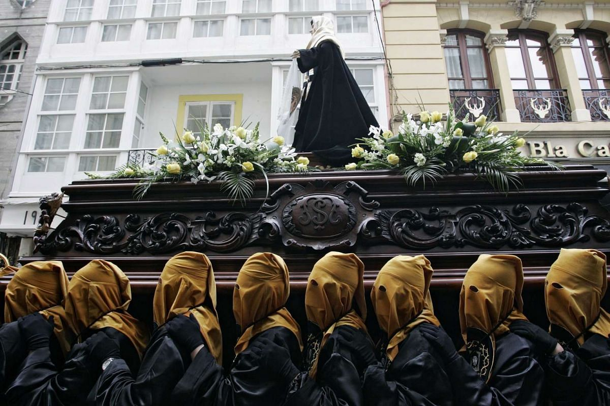 A Procession of the Santo Encuentro (Holy Meeting) as part of Good Friday celebrations in Ferrol in north-western Spain.