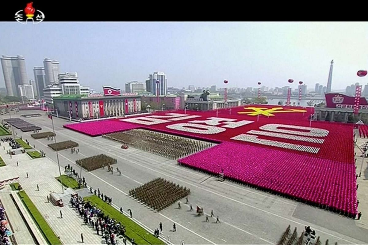 """A view of a military parade marking the 105th """"Day of the Sun"""", the birth anniversary of the state's founder Kim Il Sung, in Pyongyang, North Korea, in this still image taken from video released by North Korea's state-run television KRT."""