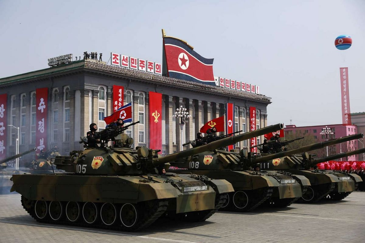 North Korean military tanks drive past during a parade for the 'Day of the Sun' festival on Kim Il Sung Square in Pyongyang, North Korea, April 15 2017.