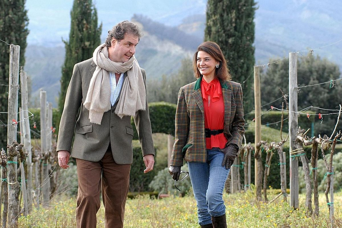 Mr Paolo d'Amico (centre) with his daughter and nephew Giacomo Pallesi, who owns wine distributor Angra Wine & Spirit. Mr Paolo d'Amico and his wife, Noemia, own a winery in Umbria, central Italy, producing wines highly rated by international wine cr