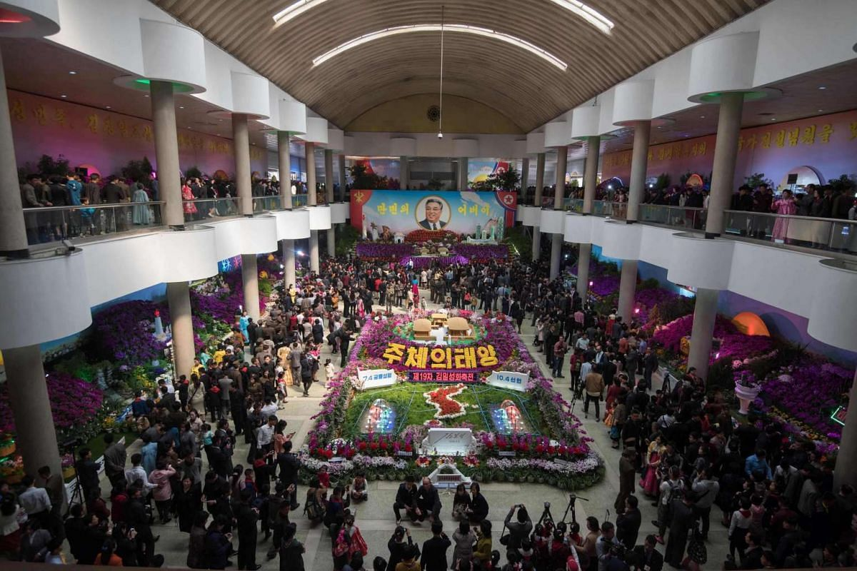 A general view shows a flower show during an organised tour for visiting foreign journalists, in Pyongyang on April 16, 2017.