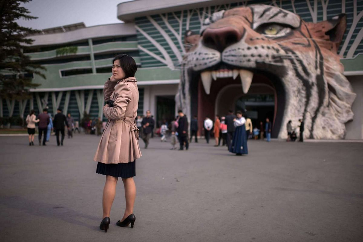 A woman stands at the entrance to the Central Zoo in Pyongyang on April 16, 2017.