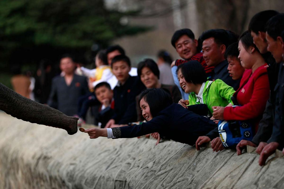North Koreans visit the Central Zoo in Pyongyang, North Korea, on April 16, 2017.