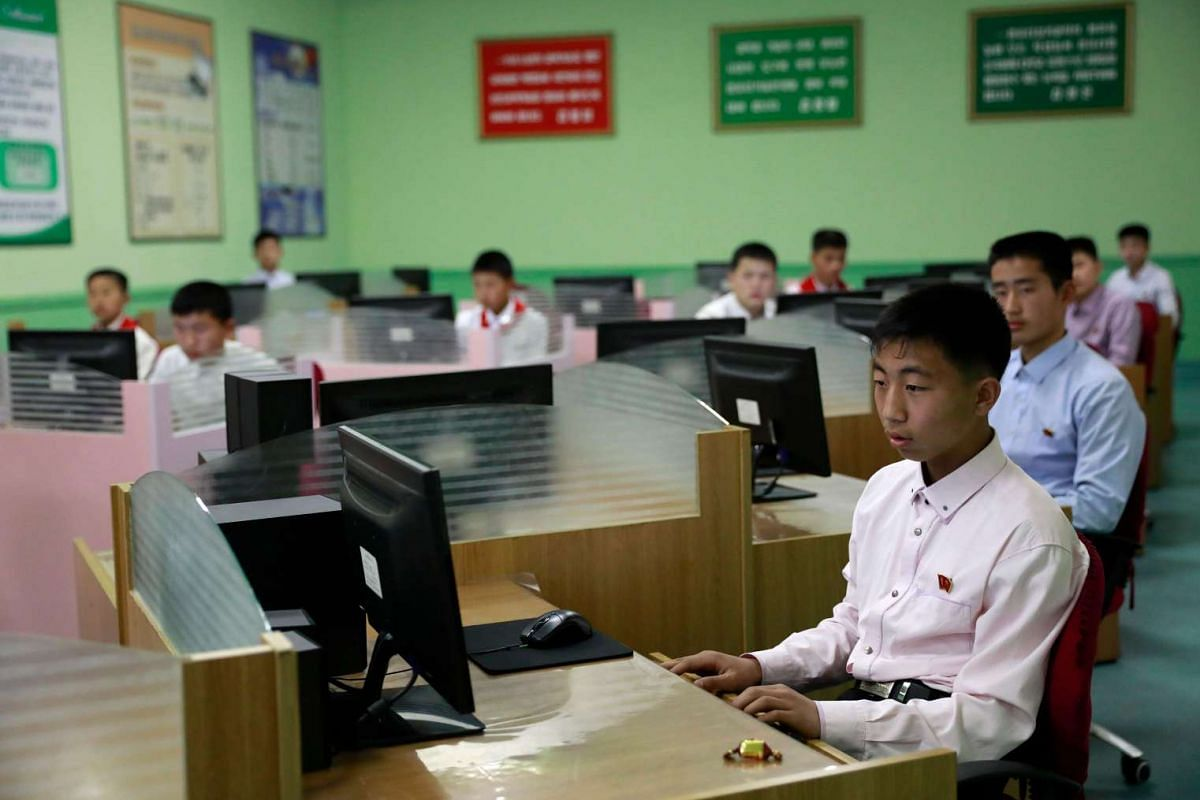 North Korean children are seen in a computer class at the Mangyondae School Children's Palace in Pyongyang, North Korea, on April 14, 2017.