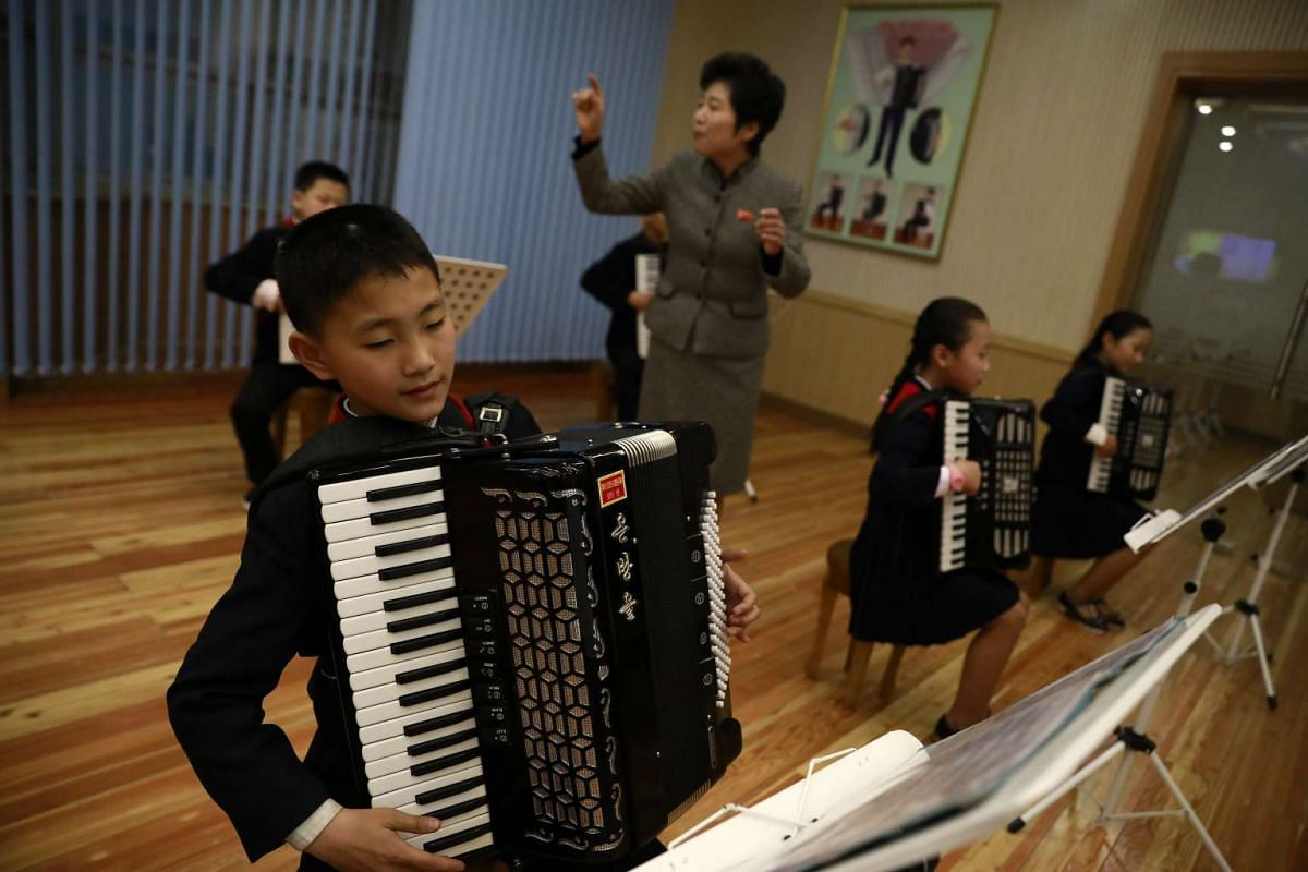 North Korean children perform the accordion at the Mangyondae School Children's Palace in Pyongyang, North Korea, on April 14, 2017.