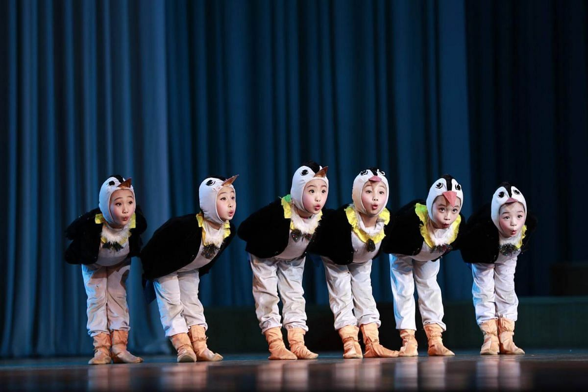North Korean children perform at the Mangyondae School Children's Palace in Pyongyang, North Korea, on April 14, 2017.