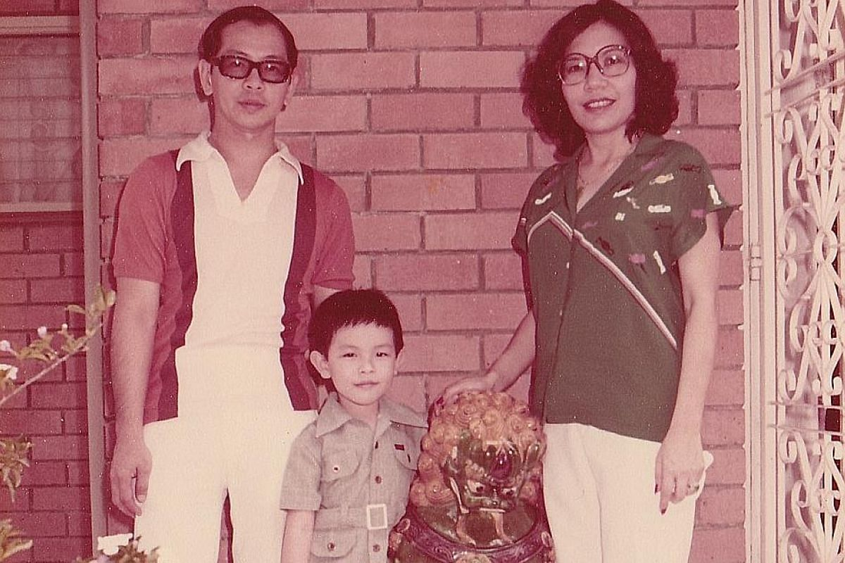My life so far: Mr Andy Ong, aged five (above), with his parents David Ong and Helen Cheong, with them at his graduation from Curtin University and with his wife Cheryl Soh and their 15-month-old daughter Bree.