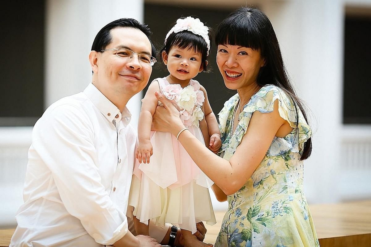 My life so far: Mr Andy Ong, aged five, with his parents David Ong and Helen Cheong, with them at his graduation from Curtin University and with his wife Cheryl Soh and their 15-month-old daughter Bree (above).