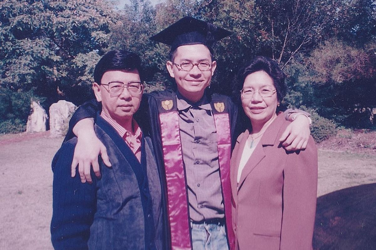 My life so far: Mr Andy Ong, aged five, with his parents David Ong and Helen Cheong, with them at his graduation from Curtin University (above) and with his wife Cheryl Soh and their 15-month-old daughter Bree.