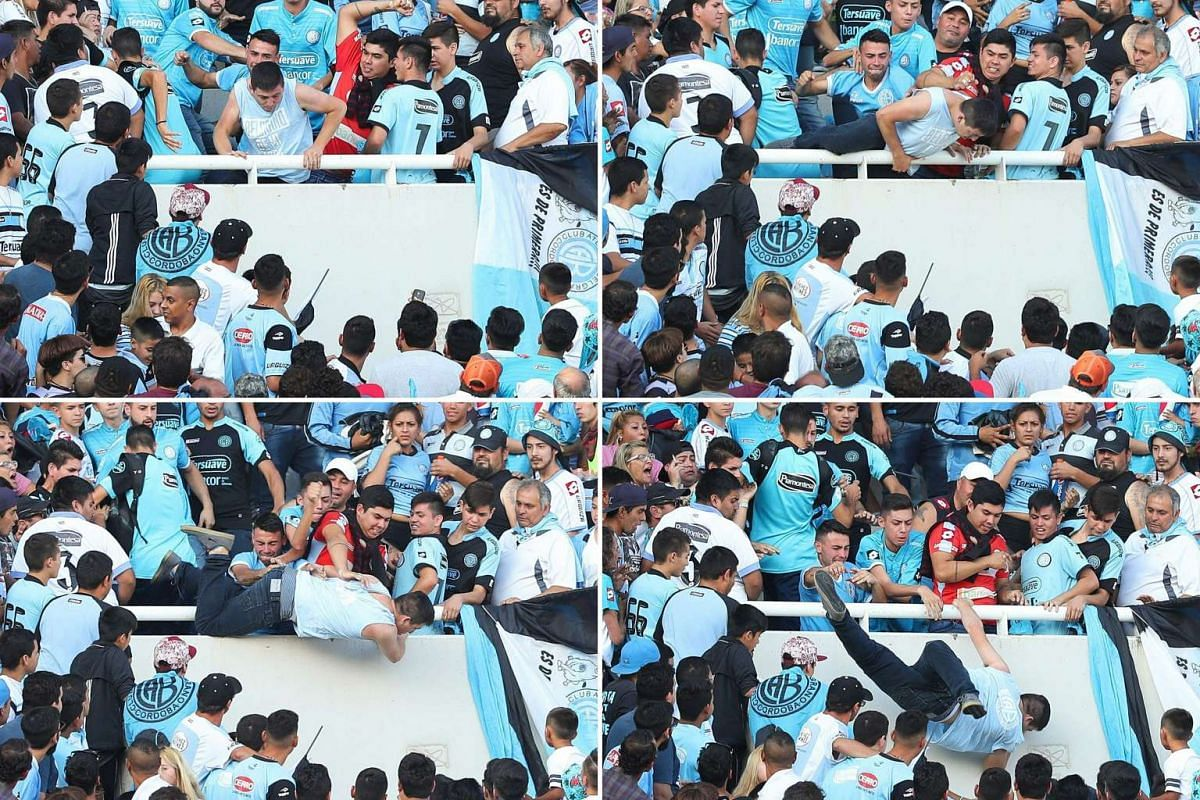 This combination of pictures created on April 17, 2017 shows Belgrano's supporter Emanuel Balbo (C) being hit and pushed down from the stands of the Mario Kempes stadium during half time of the Argentine First division football match derby between Be