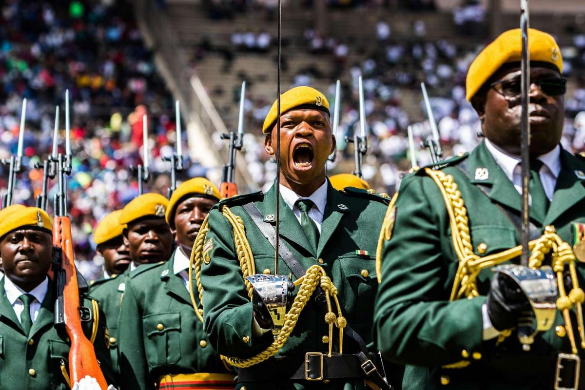 The guard of honour parade during the country's 37th Independence Day celebrations at the National Sports Stadium in Harare April 18, 2017. PHOTO: AFP