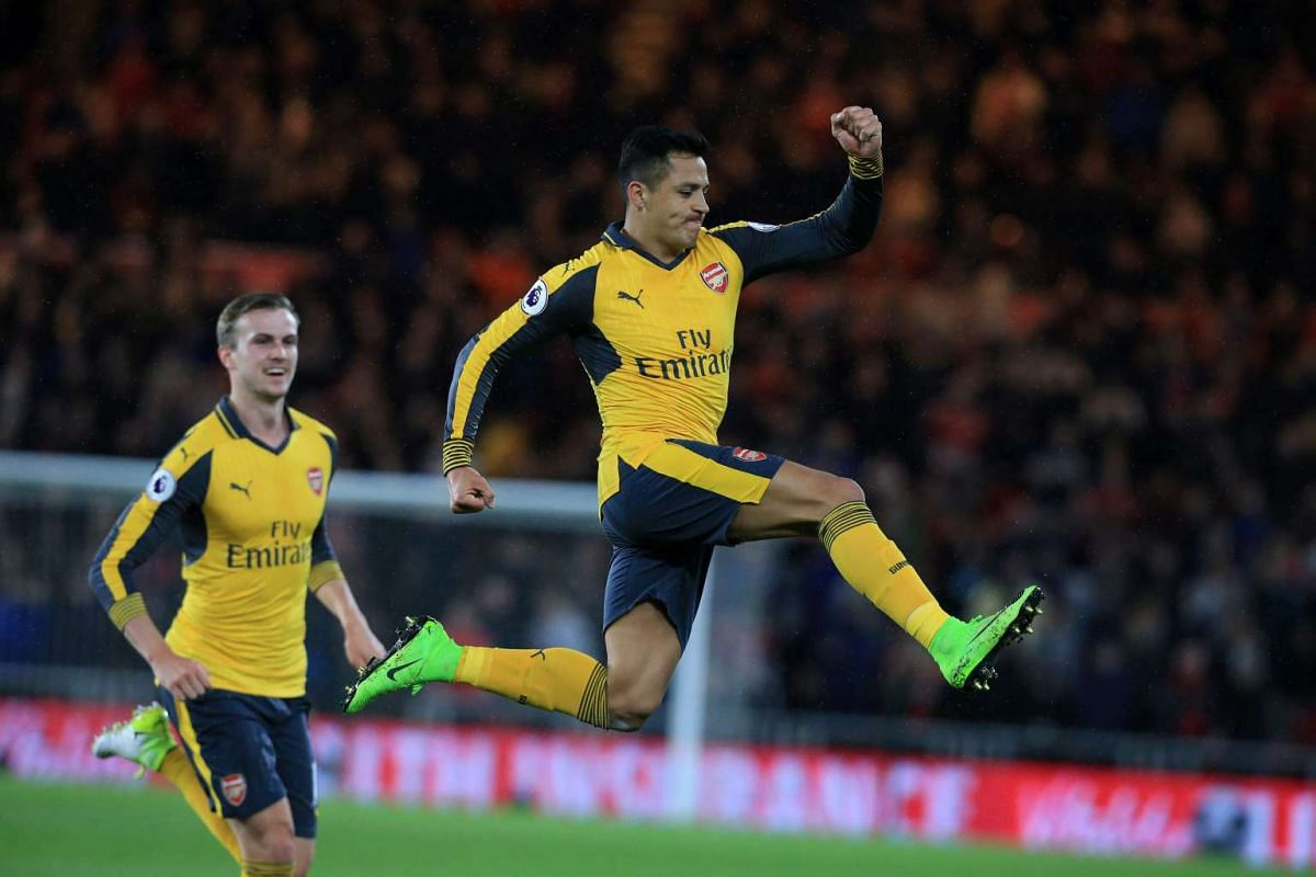 Arsenal's Chilean striker Alexis Sanchez celebrates scoring his team's first goal during the English Premier League football match between Middlesbrough and Arsenal at Riverside Stadium in Middlesbrough, northeast England on April 17, 2017. PHOTO: AF