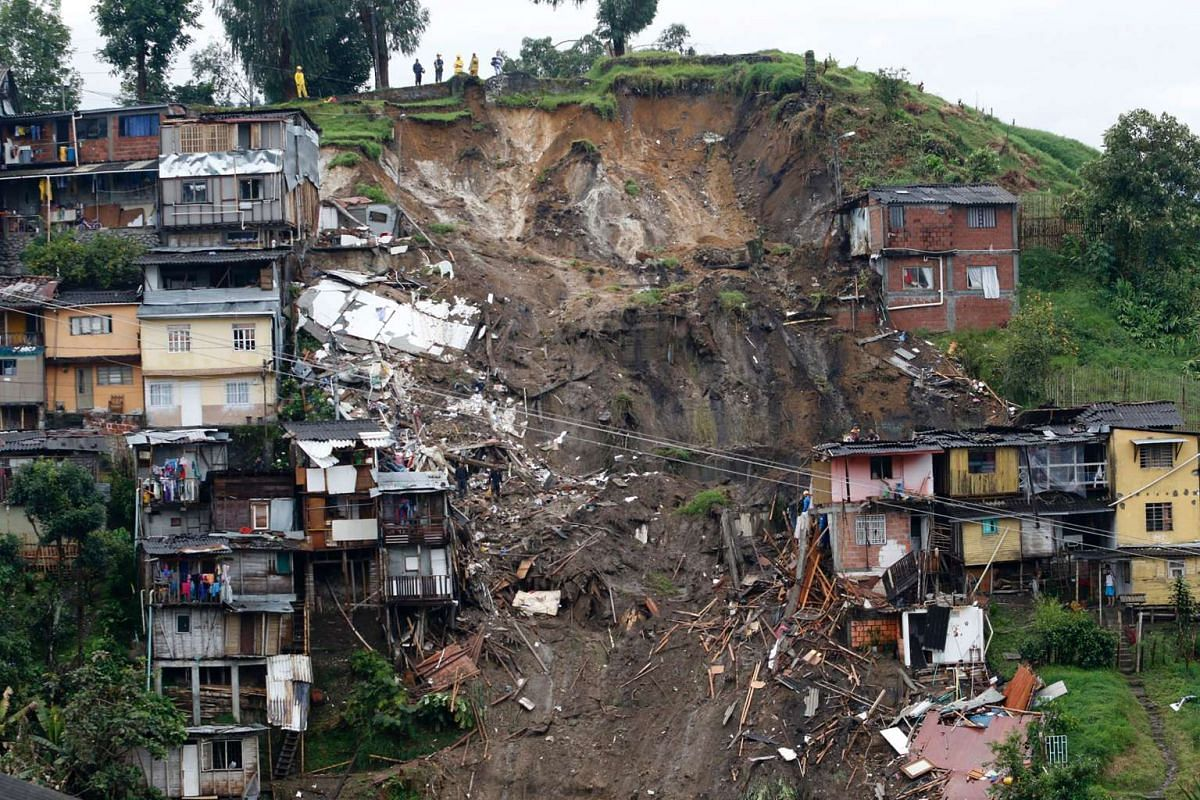 General view after mudslides hit Manizales in Colombia on April 19, 2017. PHOTO: AFP