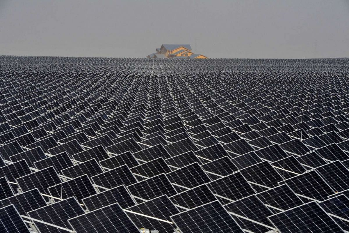 A photo release on April 19, 2017, shows solar panels in Yinchuan, Ningxia Hui Autonomous Region, China April 18, 2017. PHOTO: REUTERS/CHINA STRINGER NETWORK