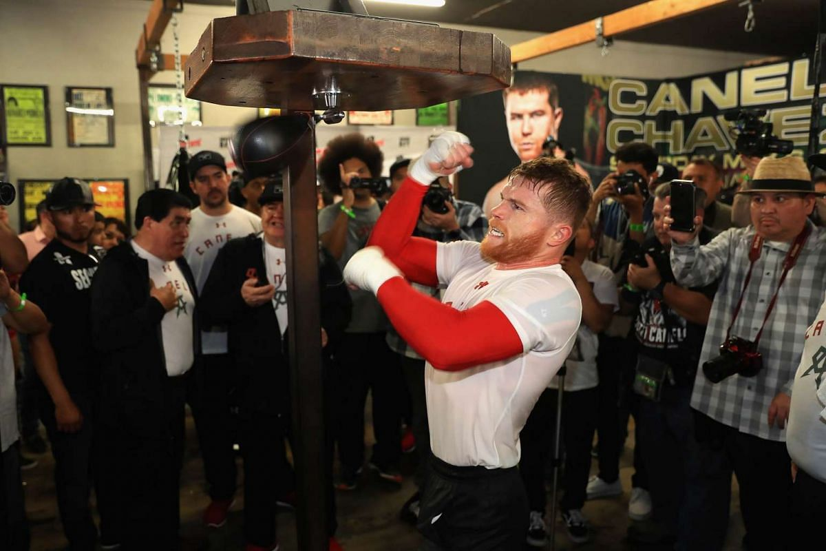 Boxer Canelo Alvarez of Mexico hits a speed bag in the ring during his Open Workout at the House of Boxing on April 19, 2017 in National City, California. Canelo Alvarez fights Julio Cesar Chavez Jr. on May 6, 2017 in Las Vegas, Nevada. PHOTO: GETTY