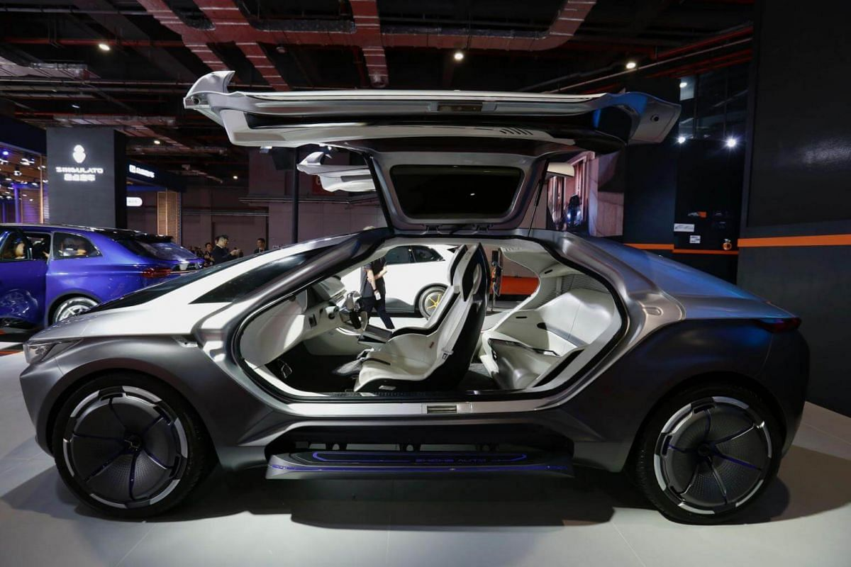 A SINGULATO Concept car is displayed during the first day of the 17th Shanghai International Automobile Industry Exhibition in Shanghai on April 19, 2017.