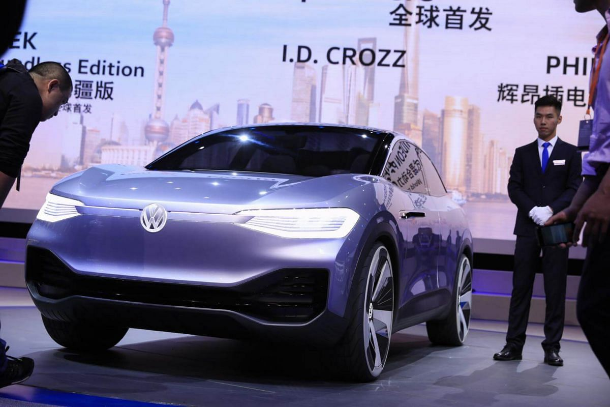 A Volkswagen ID Crozz electric SUV is displayed during the 17th Shanghai International Automobile Industry Exhibition in Shanghai, China, on April 19, 2017.
