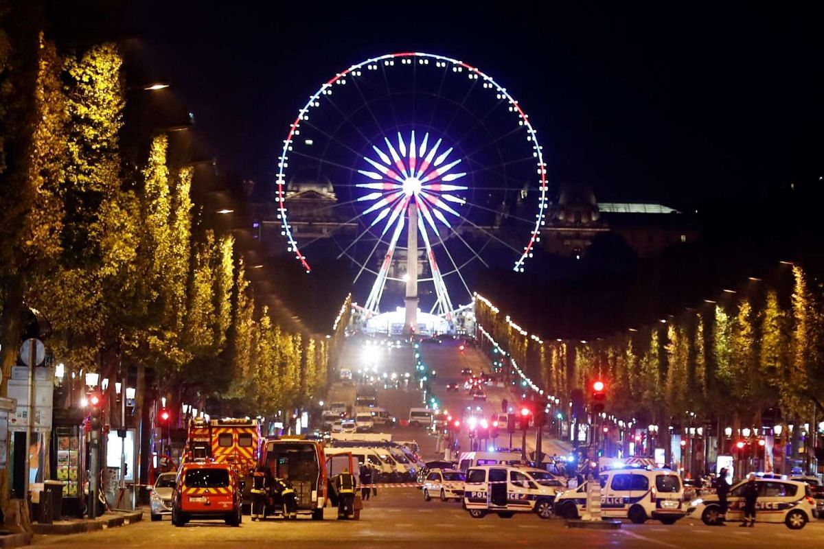 The Champs Elysee Avenue is blocked during ongoing police operations after a shooting in which two police officers were killed along with their attacker and another police officer wounded in a terror attack in Paris, France, on April 20, 2017.