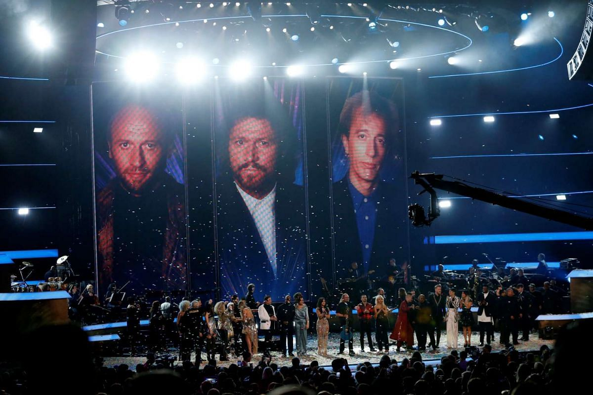 Singer Barry Gibb performing Stayin' Alive with all the performers during the taping of the Stayin' Alive, in Los Angeles, California, US, on Feb 14, 2017.