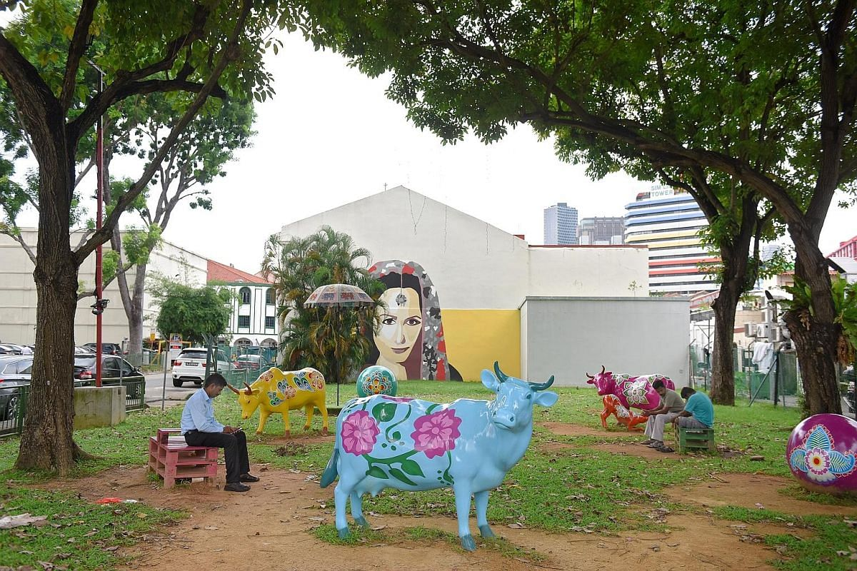 Event and exhibition designer Marthalia Budiman is behind the art installations (above) in Little India.