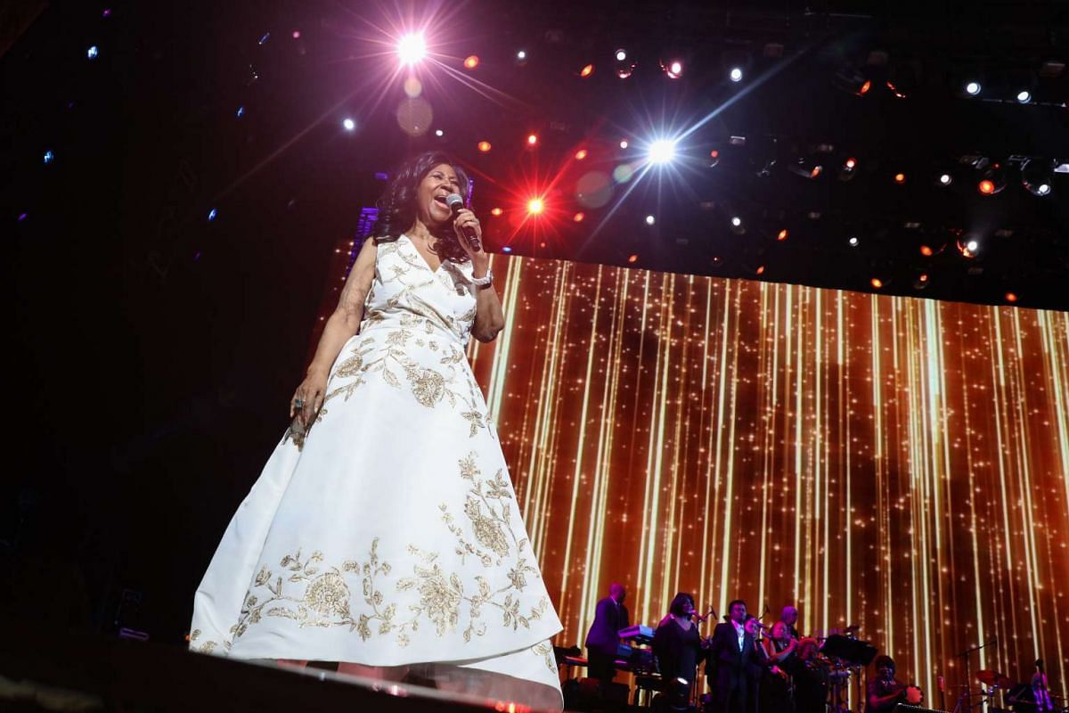 Aretha Franklin performs at the opening night of the Tribeca Film Festival at Radio City Music Hall in New York, April 19.