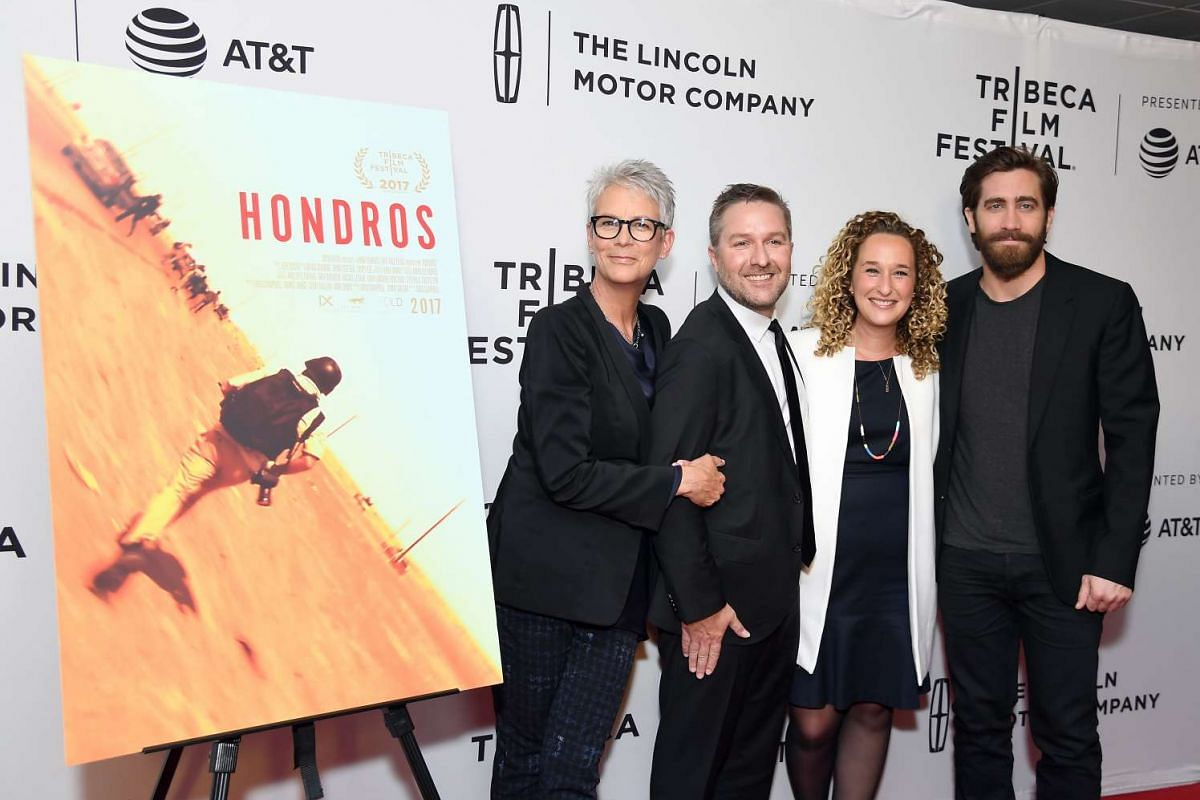 Actors (from left) Jamie Lee Curtis, Greg Campbell, Riva Marker and Jake Gyllenhaal attend the premiere of Hondros at SVA Theater on April 21.