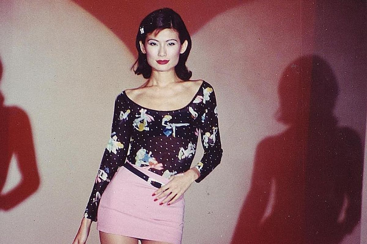 Above: Mrs Nanz Chong-Komo became the Singapore distributor for sodastream last month. Below left: Mrs Chong-Komo at a fashion show in the 1990s. She was a top model before she founded the One.99 chain of shops in 1997. Below right: Mrs Chong-Komo in