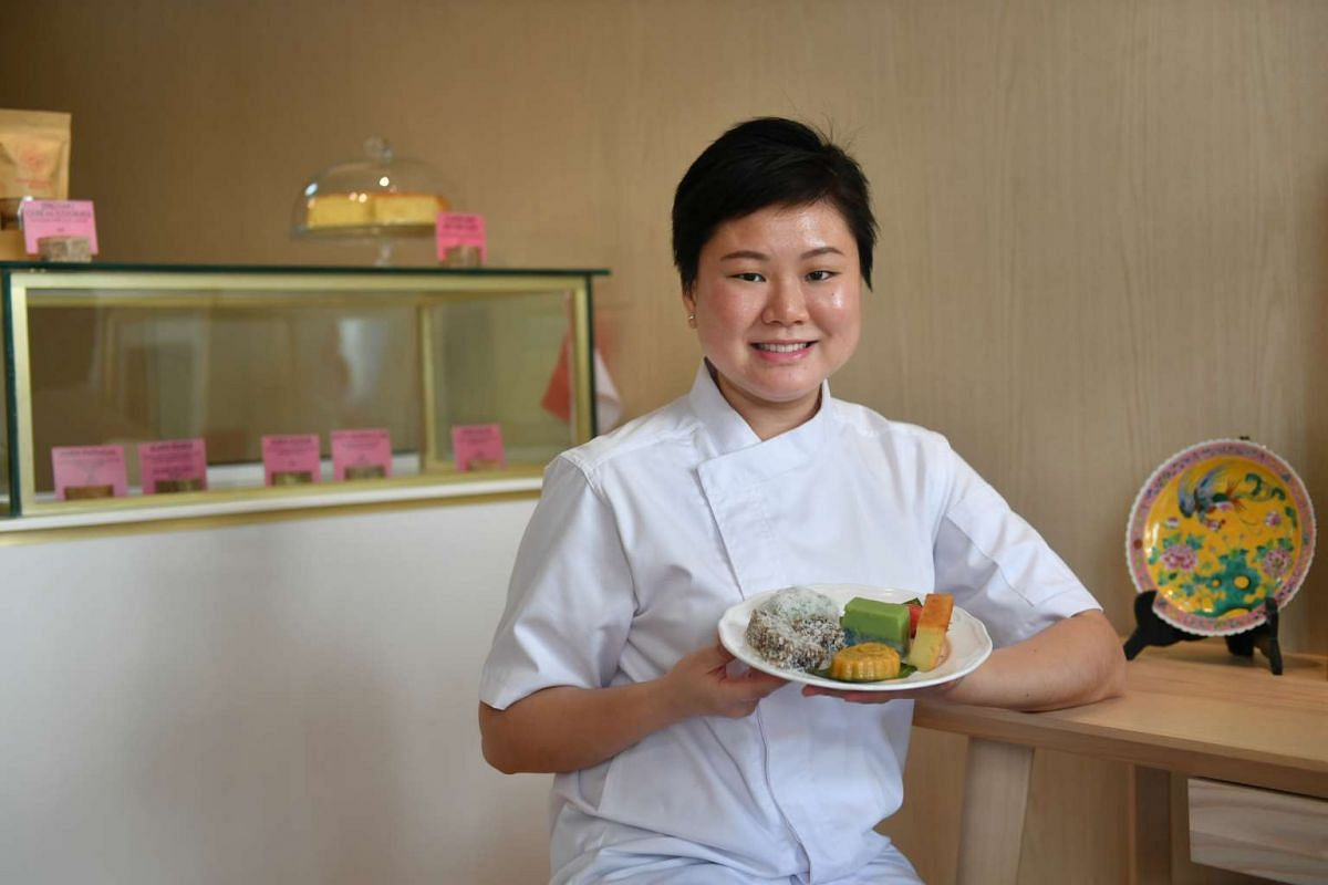 Ms Carol Aliya Widjaya, owner of Ratu Lemper, plans to sell vegetarian and seafood lemper, an Indonesian kueh, later this year, while Ms Sharon Low (above), chef-owner of Peranakan Khek, makes kueh with premium ingredients such as gula melaka from Ma