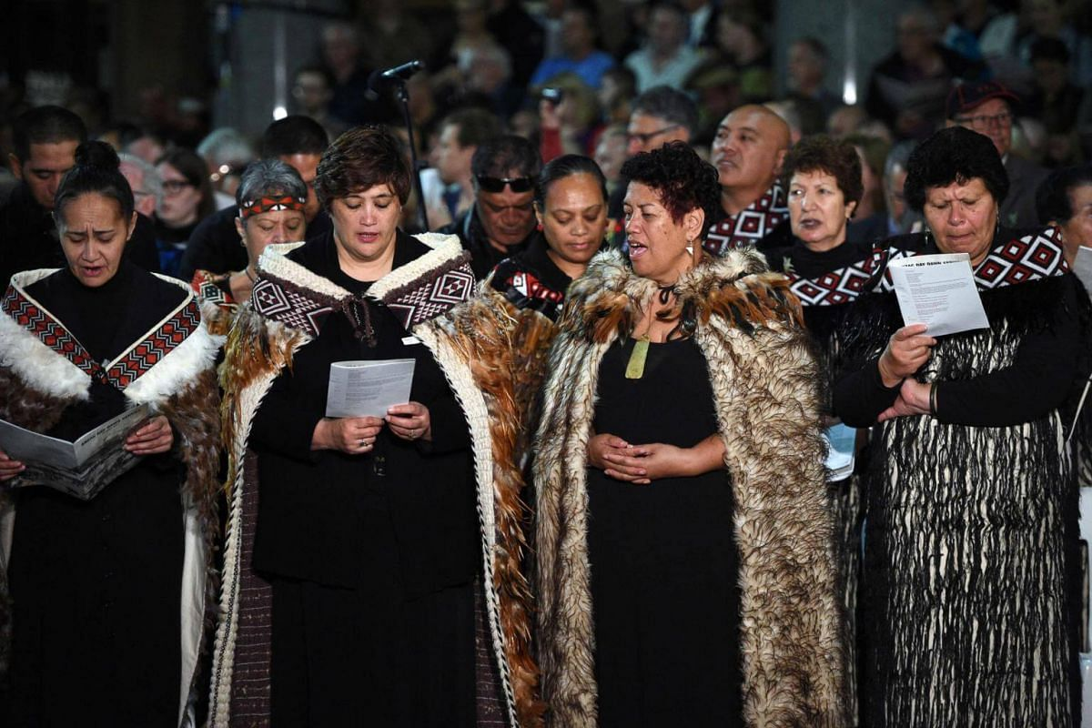 Te Wairua Tapu Choir from New Zealand sing 'Song of Sorrow', in Maori language, during the Anzac Day Dawn Service in Sydney on April 25, 2017.