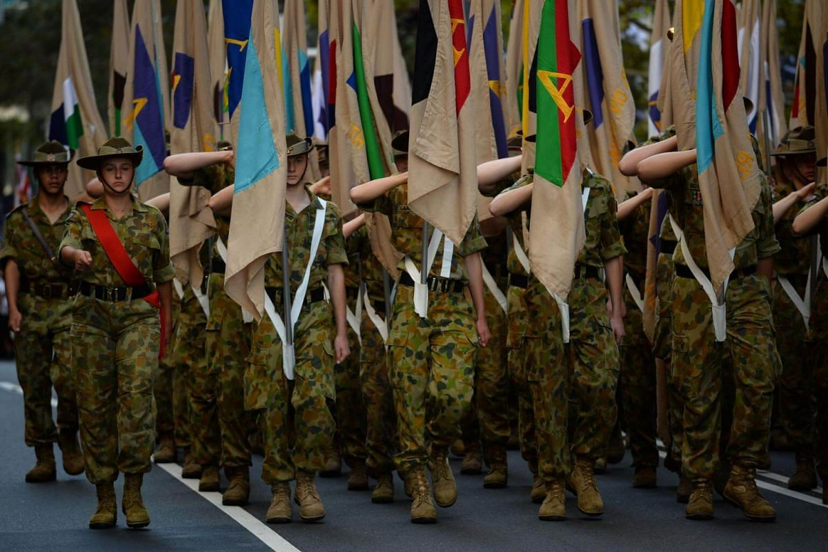 Australian soldiers march in the Anzac Day parade in Sydney on April 25, 2017.