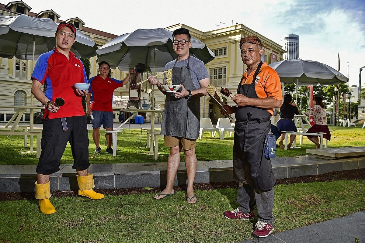 Taking part in a hawker food event outside the Asian Civilisations Museum on May 12 and 13 are (from far left) Jin Jin Dessert co-owners Ewan Tang, 39, and Calvin Ho, 54; Cho Kee Noodle's Mr Jonathan Cho, 29; and Mr Mohd Zainal Elias, 57, from Opah S