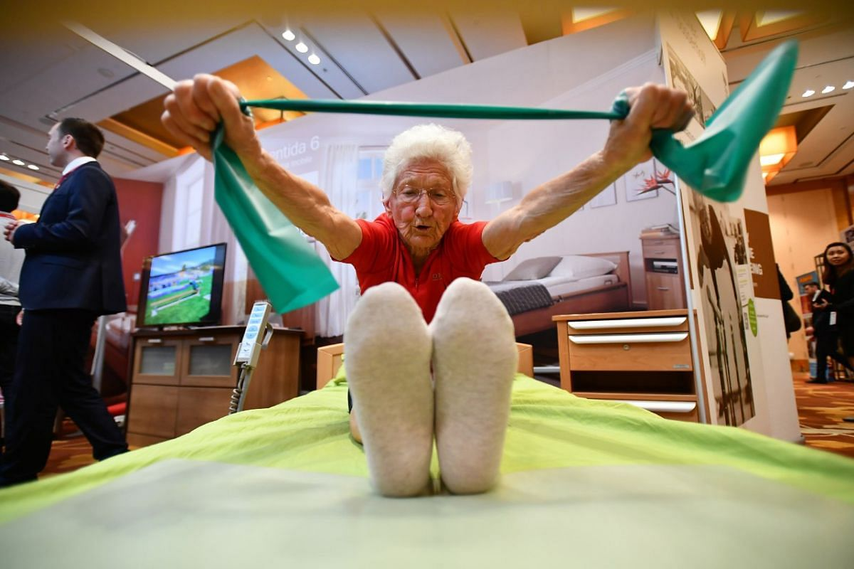 Ms Quaas, 92, holds the Guinness Record of the world's oldest gymnast.