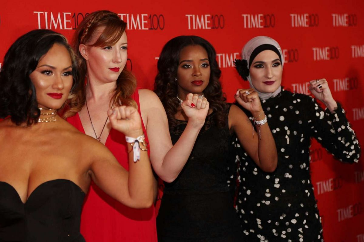 Women's March National Co-Chairs (from left) Carmen Perez, Bob Bland, Tamika D. Mallory and Linda Sarsour attending the Time 100 Gala at Frederick P. Rose Hall on April 25, 2017, in New York City.