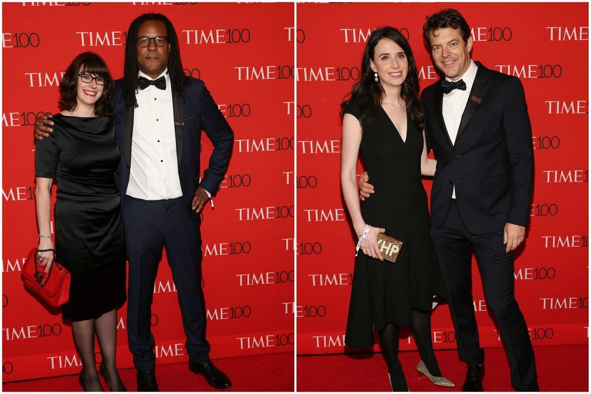 (From left) Julie Barer, Colson Whitehead, Lauren Blum and Jason Blum attending the 2017 Time 100 Gala at Frederick P. Rose Hall on April 25, 2017, in New York City.