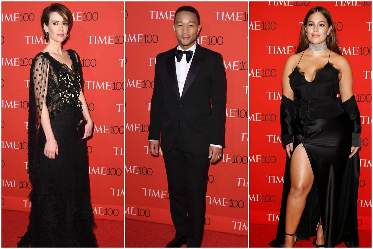 (From left) Sarah Paulson, John Legend and Ashley Graham attending the 2017 Time 100 Gala at Jazz at Lincoln Center, on April 25, 2017, in New York City.