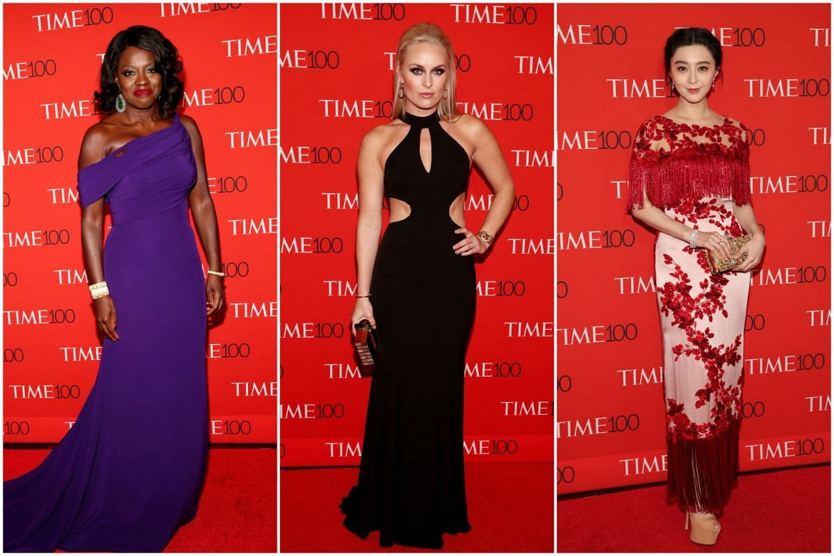 (From left) Viola Davis, Lindsey Vonn and Fan Bingbing attending the 2017 Time 100 Gala at Jazz at Lincoln Center, on April 25, 2017, in New York City.