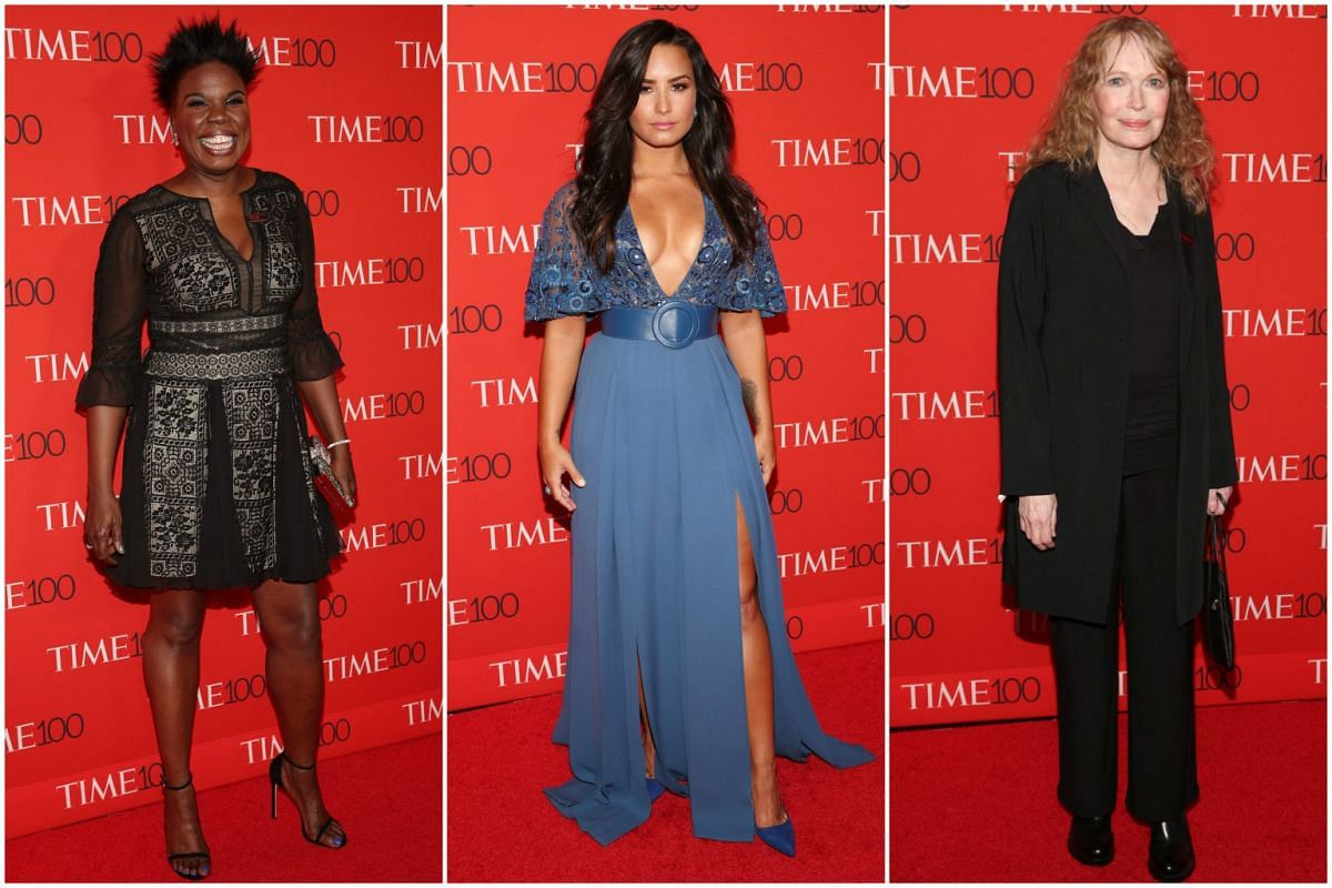 (From left) Leslie Jones, Demi Lovato and Mia Farrow attending the 2017 Time 100 Gala at Frederick P. Rose Hall on April 25, 2017, in New York City.