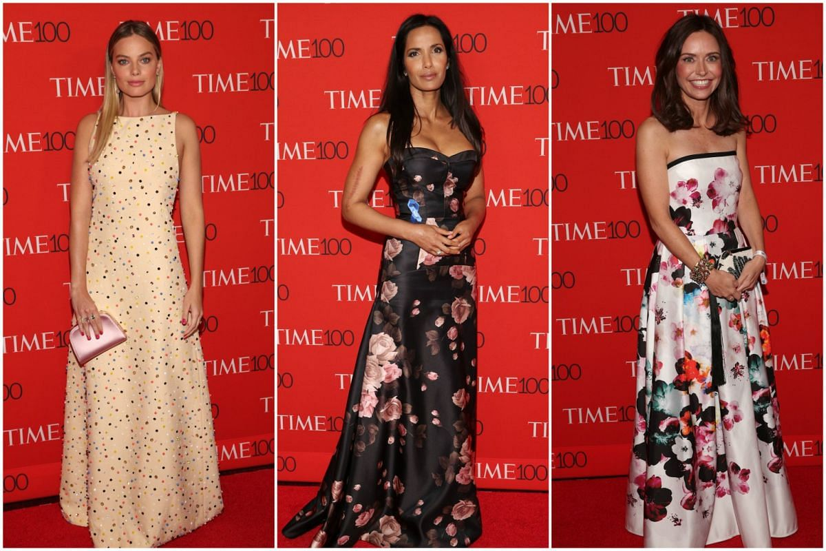 (From left) Margot Robbie, Padma Lakshmi and Kirsten Green attending the 2017 Time 100 Gala at Frederick P. Rose Hall on April 25, 2017, in New York City.