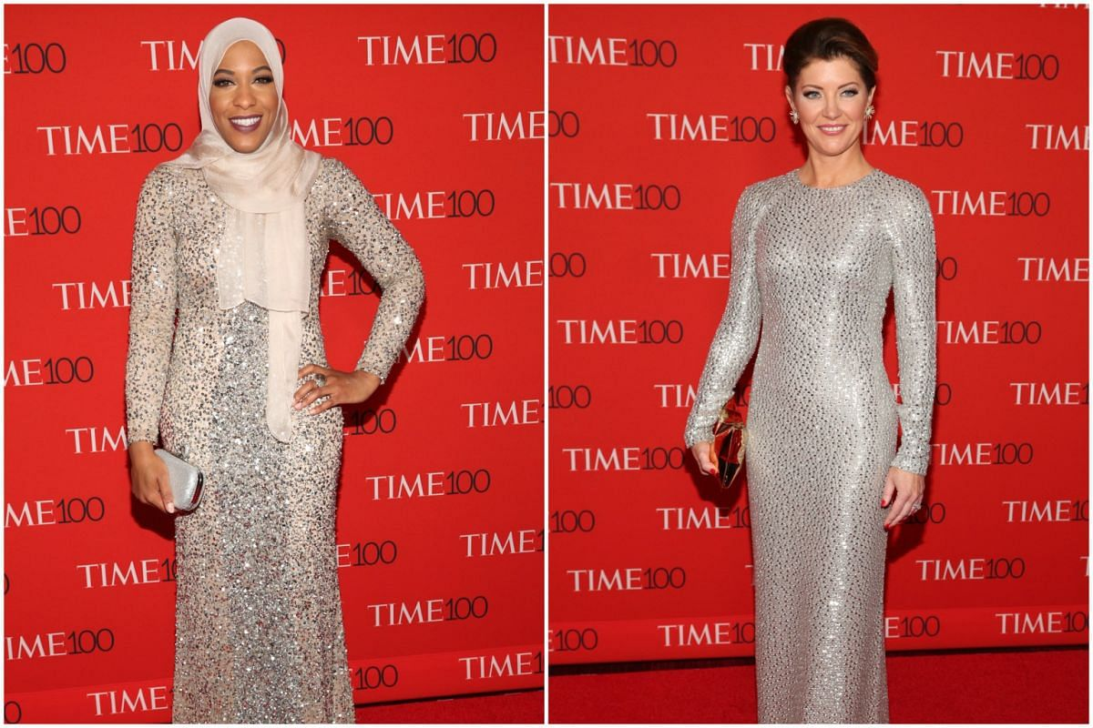 (From left) Ibtihaj Muhammad and Norah O'Donnell attending the 2017 Time 100 Gala at Frederick P. Rose Hall on April 25, 2017, in New York City.