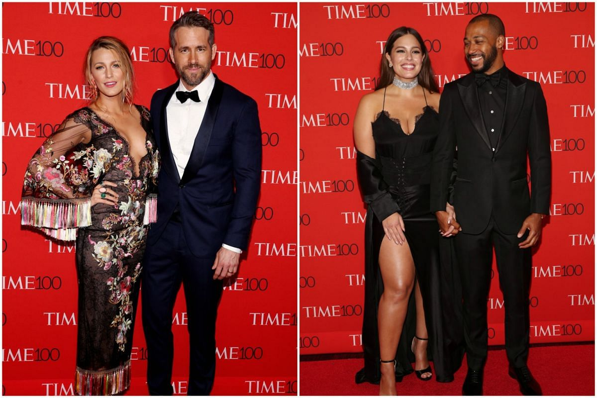 (From left) Blake Lively, Ryan Reynolds, Ashley Graham and her guest attending the 2017 Time 100 Gala at Frederick P. Rose Hall on April 25, 2017, in New York City.