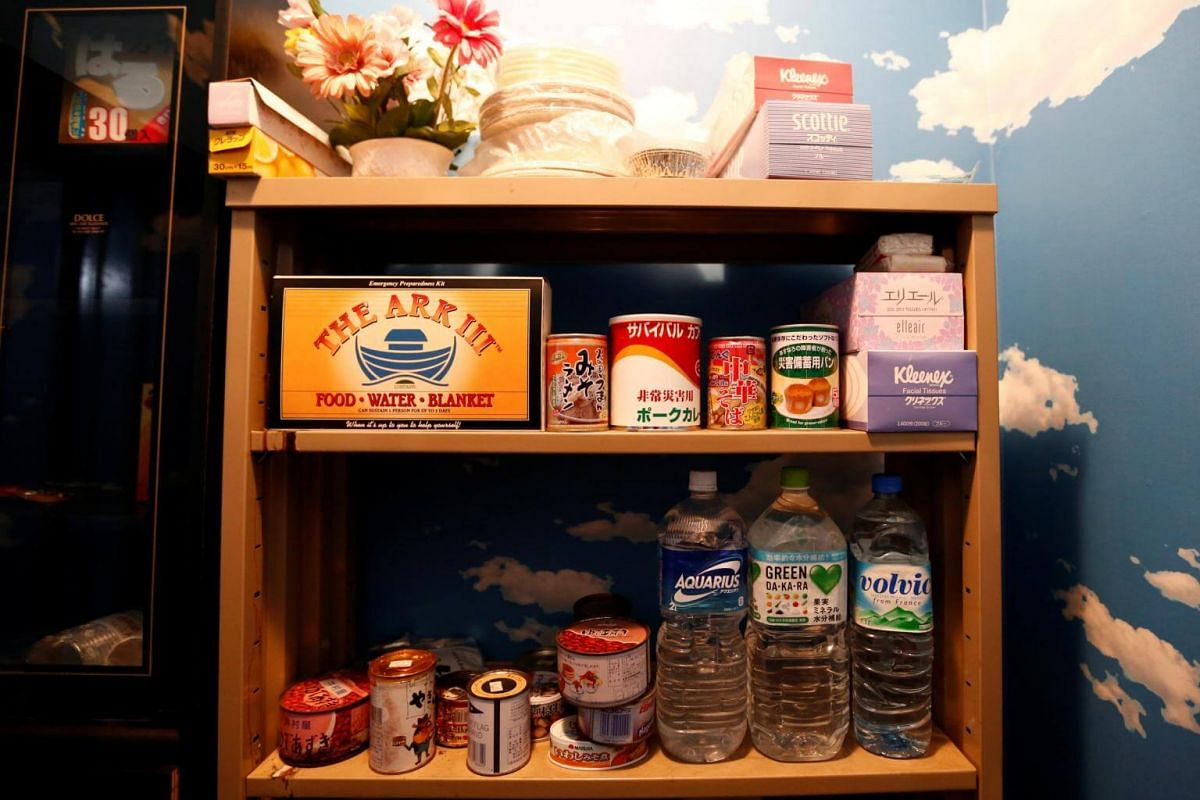 Basic supplies and emergency foods are stocked up in the model room.