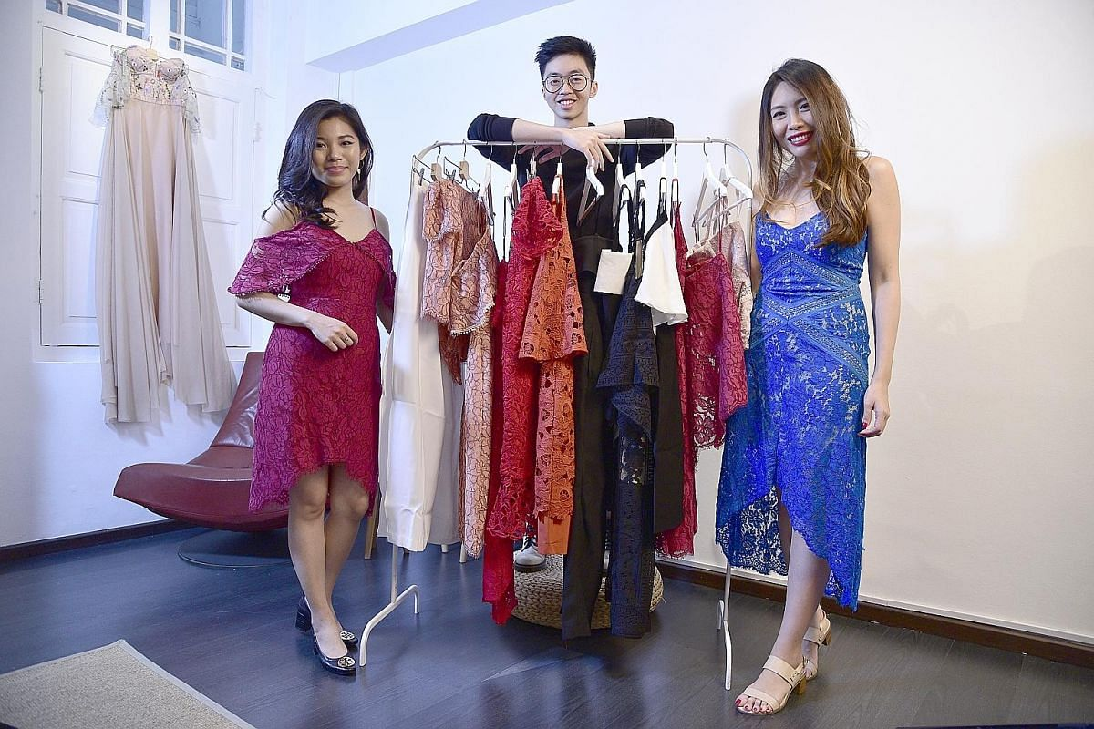 Made-to- measure label Inventory, which has a studio in Club Street (right), specialises in functional workwear for men and women. The team behind home-grown made-to-measure label Juillet: (from left) Ms Sonia Ayu Lestari, 23, Mr Dennis Tipton, 23, a