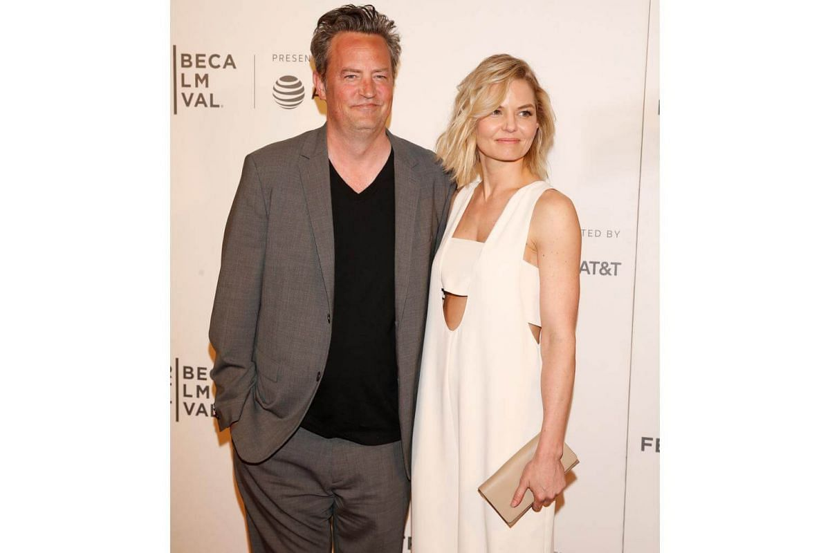 Actor Matthew Perry (left) and guest Jennifer Morrison arrive for The Circle premiere at the Tribeca Film Festival on April 26, 2017.