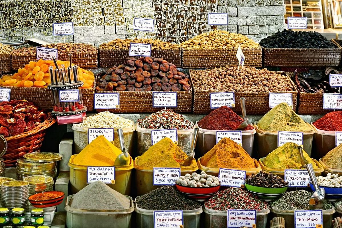 A variety of unique spices, dried fruit and nuts can be found at the bazaars in Istanbul, Turkey.