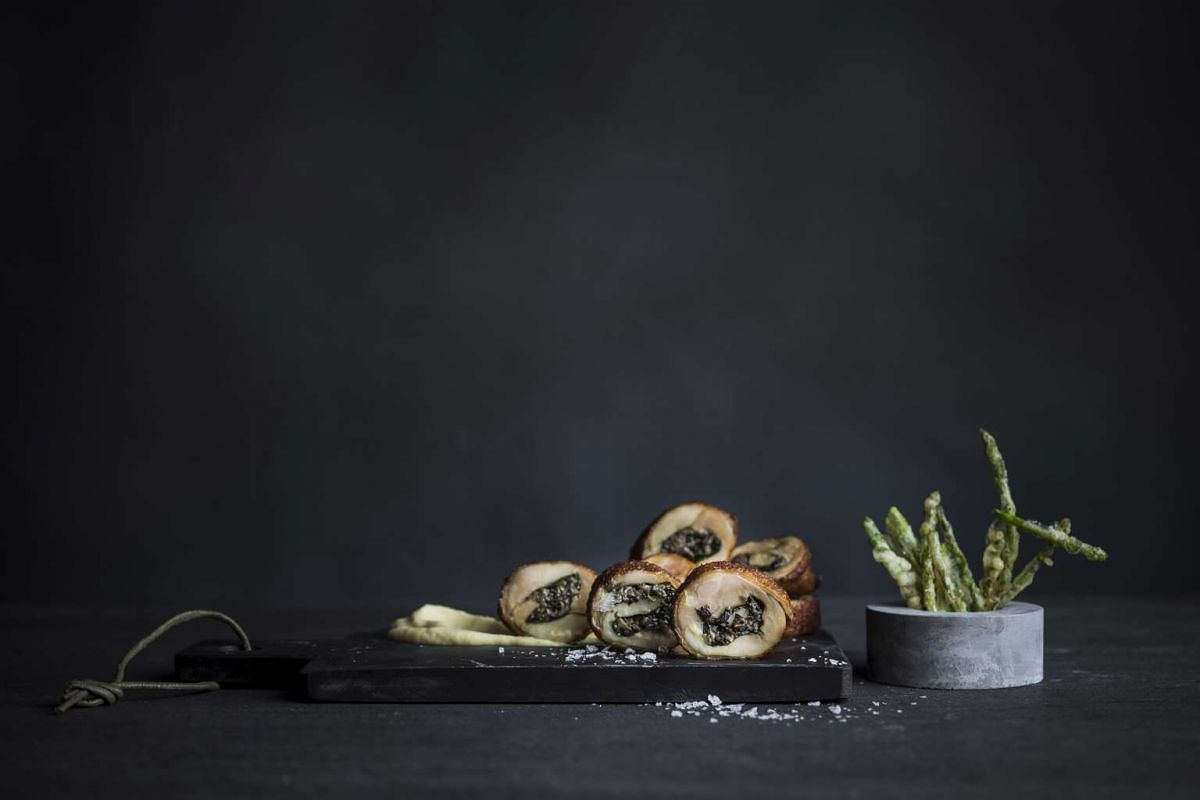 The Twice Cooked Chicken Roulade has a marvellously crisp skin covering well-seasoned chicken.